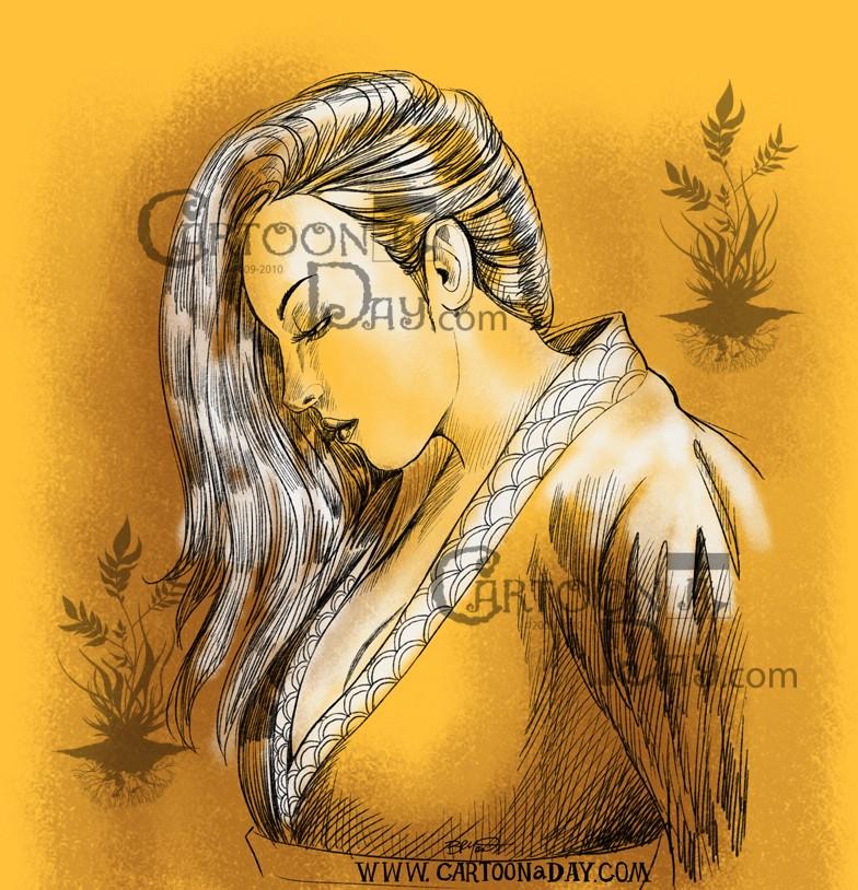 Beautiful Japanese Woman Drawing Cartoon