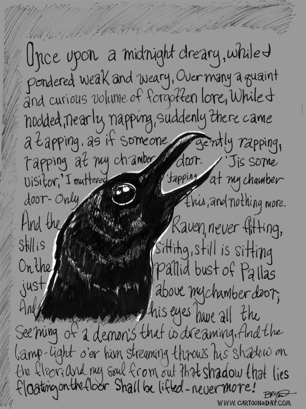 Edgar Allen Poes The Raven Cartoon