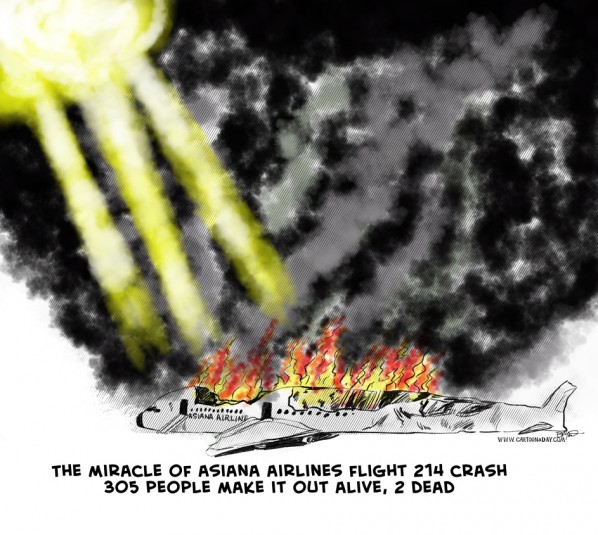 Asiana Airlines Flight 214 Crash Cartoon