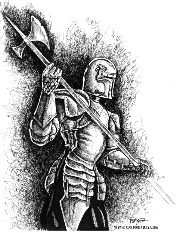 kinight-in-armor-ink-sketch