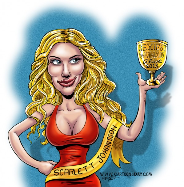 Scarlett Johansson Caricature Cartoon