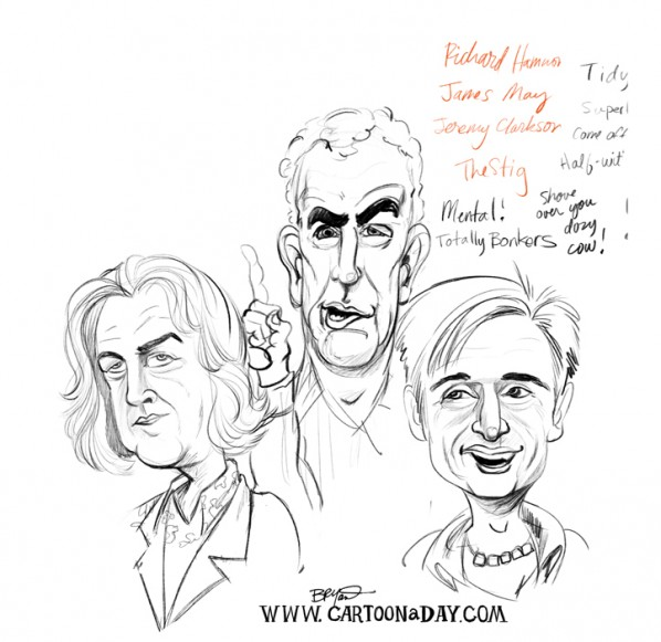 top gear uk-caricature-sketch