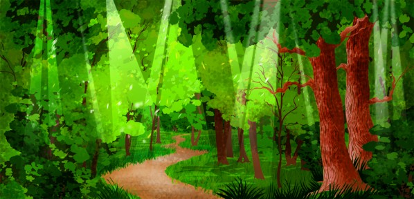 Forest Path Illustrated Cartoon