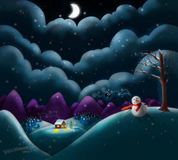 christmas-scene-cute-snowman-dark