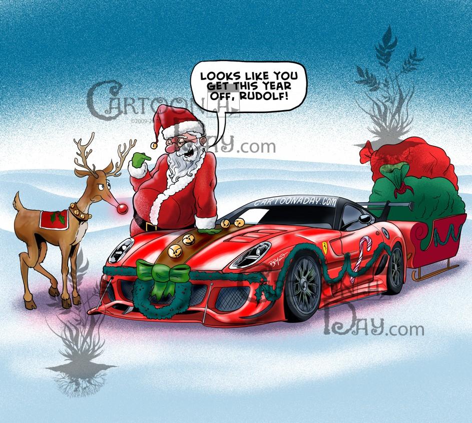 santa u0027s new ferrari sleigh cartoon