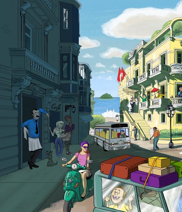 Monte Carlo Street Scene Illustration