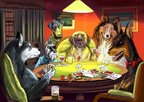 Dogs Playing Poker Updated Illustration