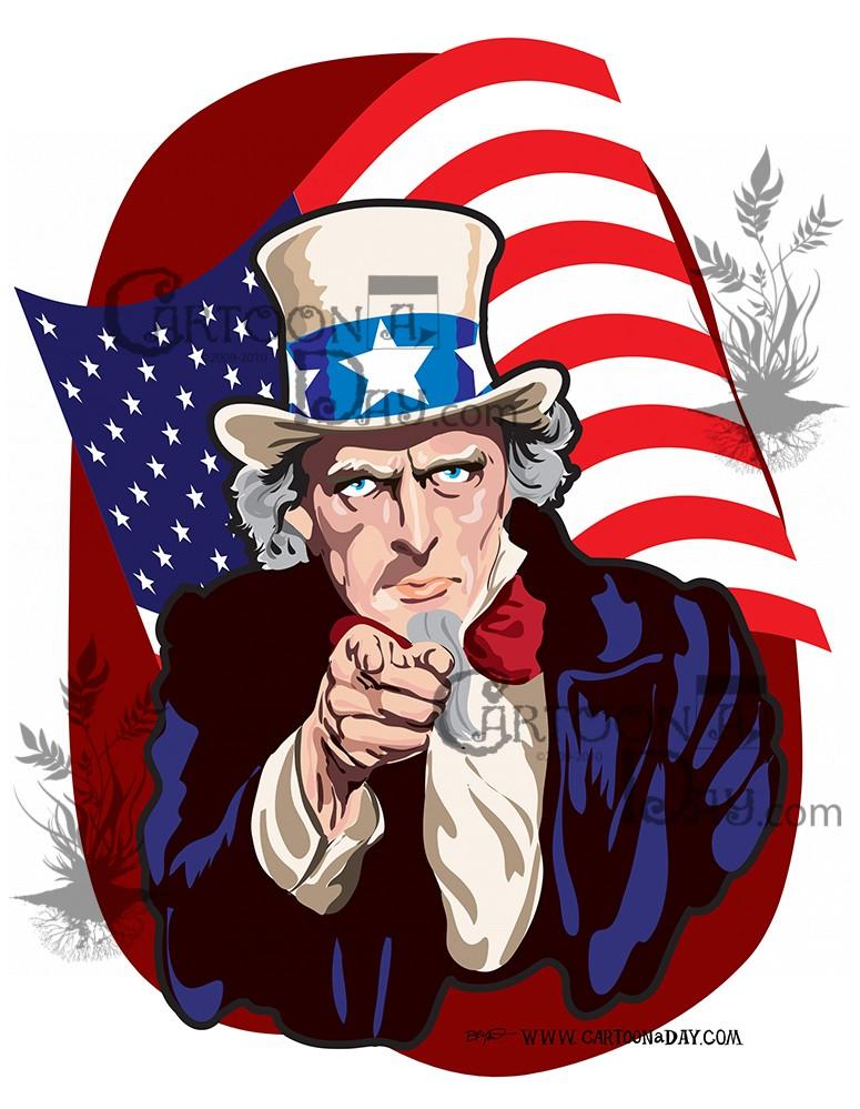 Uncle Sam Cartoon Vector ❤ Cartoon
