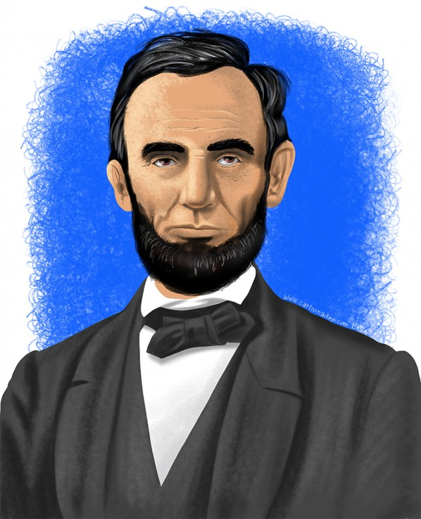 Color Portrait Of President Abraham Lincoln Cartoon