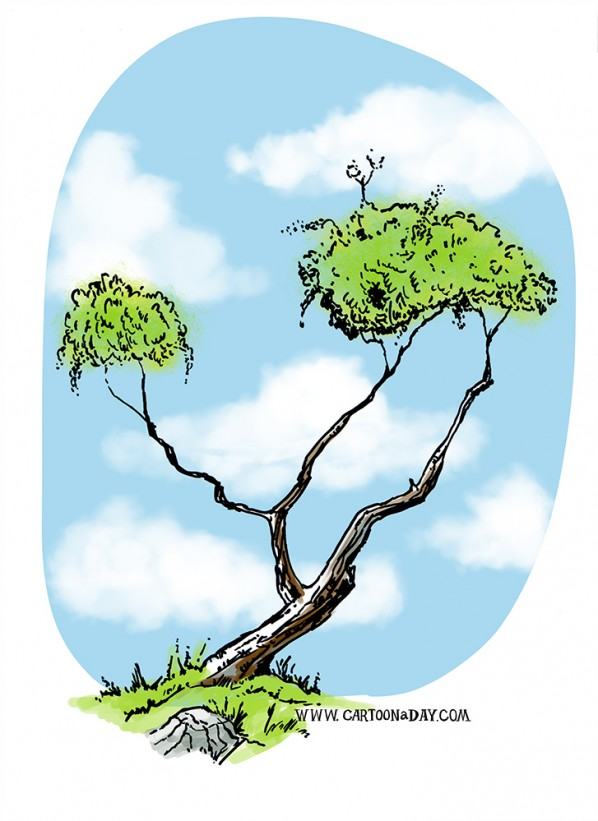 bush-tree-variation-ink-sketch-color