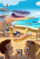 Cartoon Tropical Hawaii Beach Scene Final