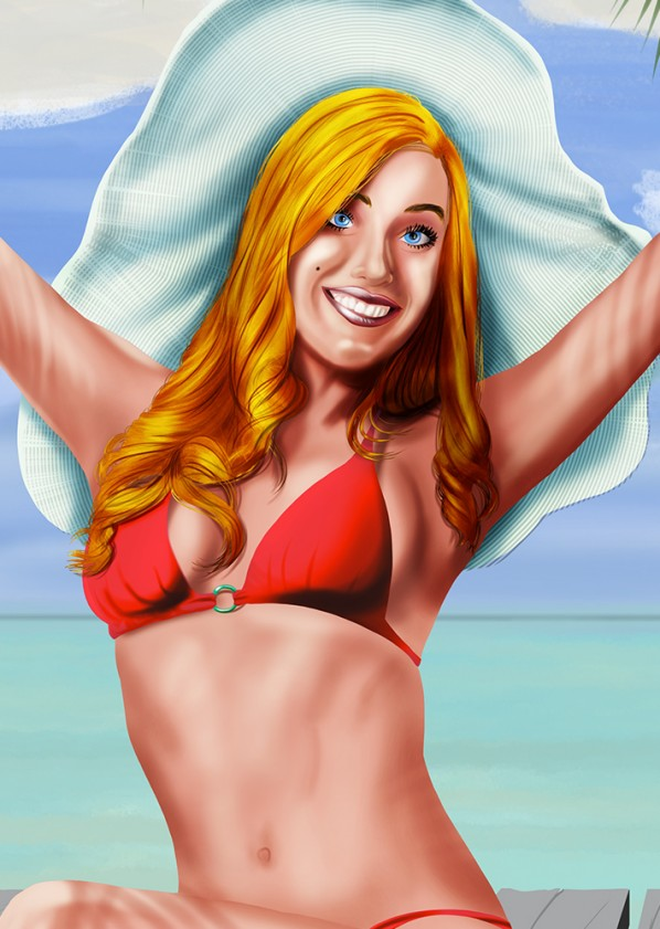 Beach Fun Pin Up Illustration