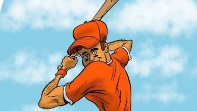 Baseball player cartoon batter