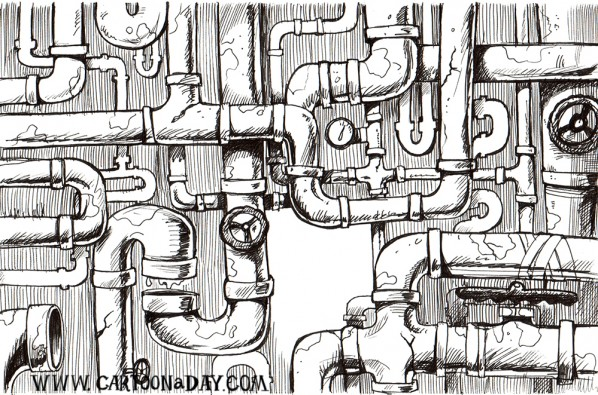 Cartoonaday-pipes-blackandwhite