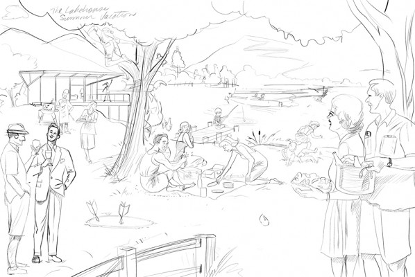 Lake Summer-party-50's-sketch