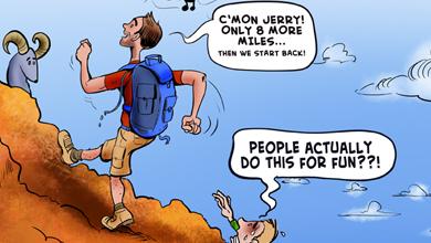 Funny hiking cartoon a good day to x3cb x3ehike cartoon x3c b x3e