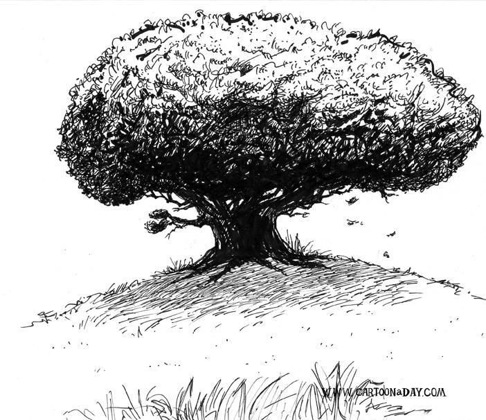 Tree-on-hill-painted-blacknwhite