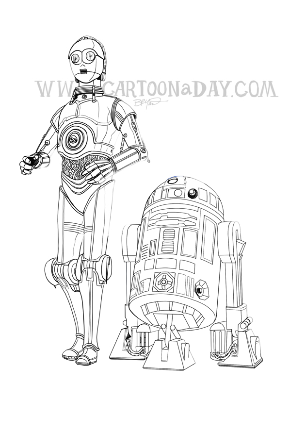 R2d2 And C3po Drawing Star Wars C3PO and R2D...