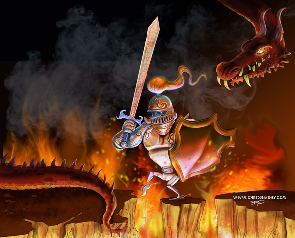 knight-and-dragon-cartoon-painting-598