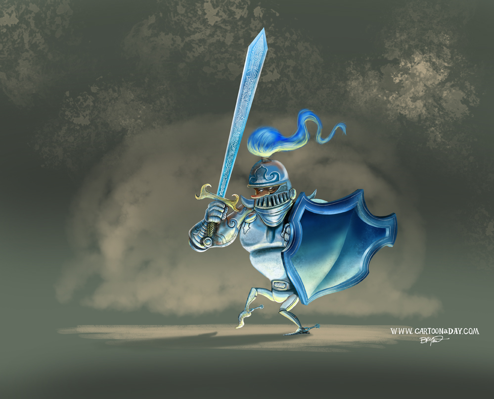 knight-and-dragon-cartoon-painting-single