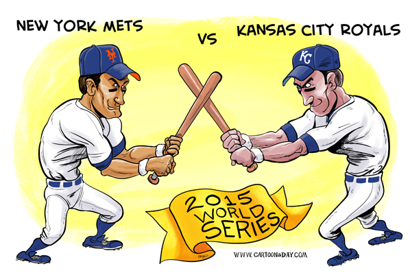 2015 World Series Mets Vs Kansas City Cartoon ❤ Cartoon