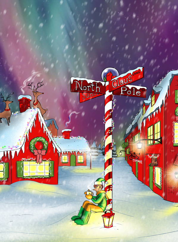 santas workshop north pole elves cartoon - Santa And The North Pole