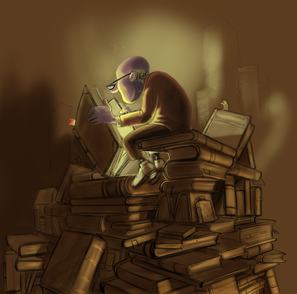 reading-stack-books-sketch-brown