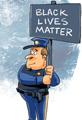 Black Blue Lives Matter Cartoon