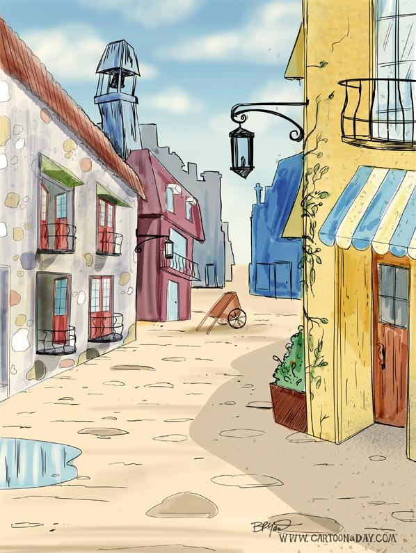 european-stree-scene-sketch-598