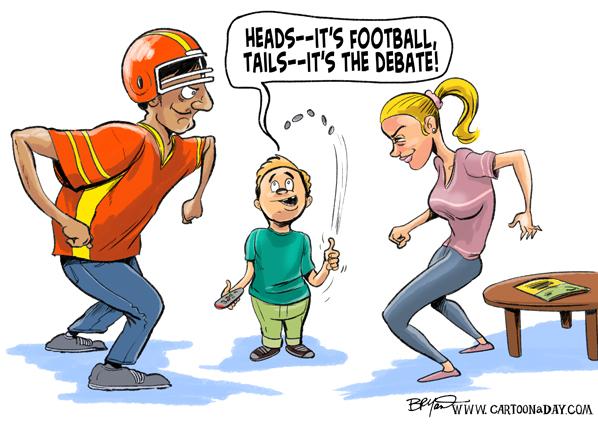 monday night football vs presidential debate cartoon