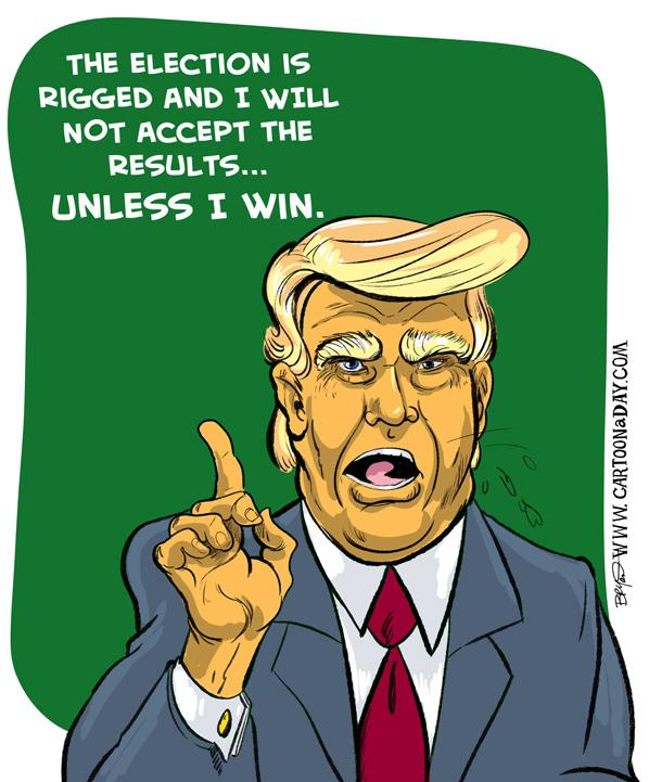 Trump and Rigged Election Cartoon Cartoon