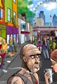 London Crowded Street Scene Cartoon