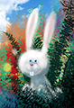 Happy Easter Bunny Grassy Field