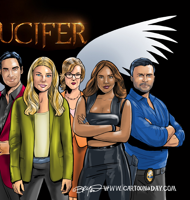 Lucifer-cast-caricature-right