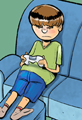 Summer Vacation Cartoon Video Gamer
