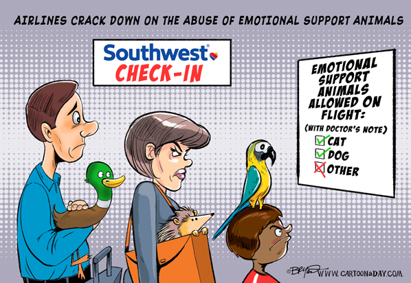 Image of: Therapy Dog Airlines Crack Down On Esa Abuse Cartoon Day Airlines Crack Down On Esa Abuse Cartoon
