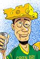 Green Back Packer CheeseHead Cartoon