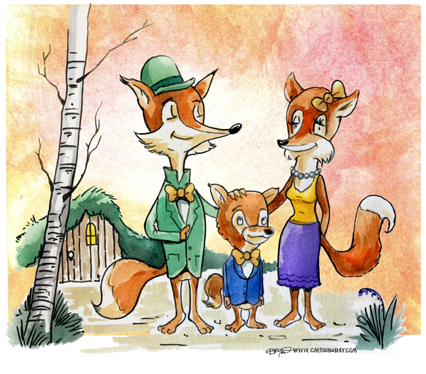 Fox-family-cartoon-watercolor-598
