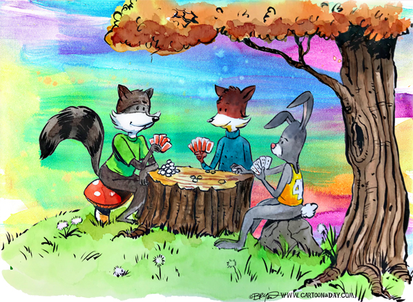 Fox-rabbit-Raccoon-poker-watercolor-2