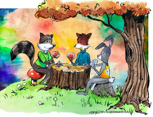 Fox-rabbit-Raccoon-poker-watercolor-598