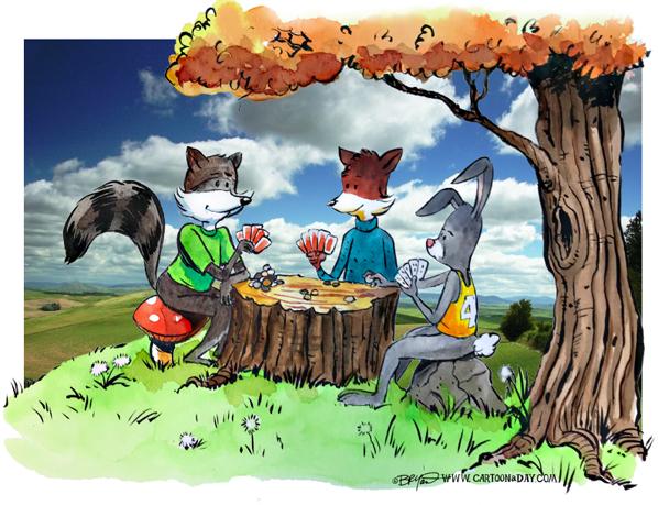 Fox-rabbit-Raccoon-poker-watercolor598-3