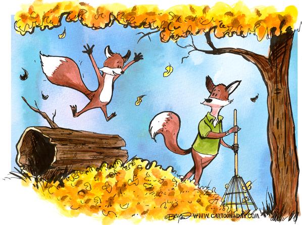Fox-falls-in-leaves-cartoon-watercolor-598