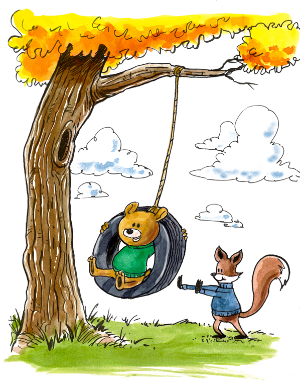 fox-and-bear-tire-swing-598