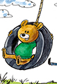Fox and Bear in Tire Swing