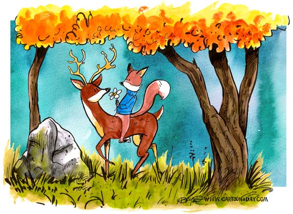 fox-and-deer-in-woods-598
