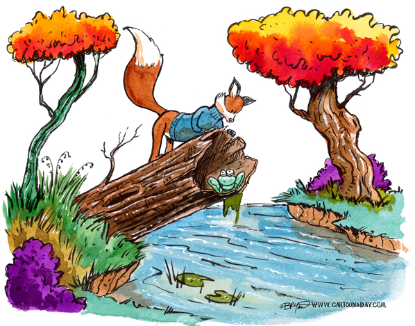 fox-and-log-and-frog-598