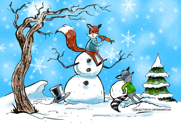 fox-raccoon-snowman-cartoon-598
