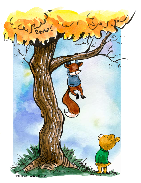Fox-and-bear-climbing-tree-598