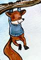 Fox and Bear Climbing a Tree