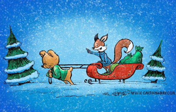 fox-bear-sleigh-598